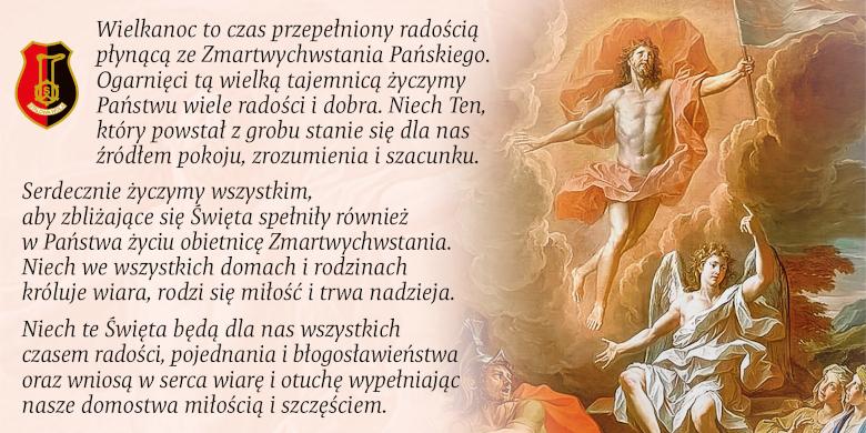 obraz Jezus Zmartwychwstały, życzenia wielkanicne miasta Stalowej Woli