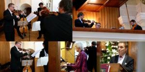 kolaż zdjęć, muzycy, instrumenty