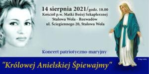 """plakat: koncert patriotyczno-maryjny """" Królowej Anielskiej Śpiewamy"""""""