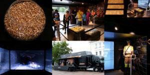 Kolaż z 5 zdjęć z mobilnej wystawy KGHM