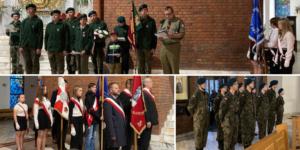 Slajd trzech zdjęć wielu osób w tle wnętrze kościoła sztandary żołnierze