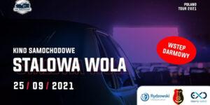 Plakat informacyjny o kinie samochodowym