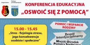 Plakat konferencji edukacyjnej pod tytułem oswoić się z przemocą